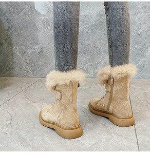 Image 3 - SWYIVY Martin buty buty kobieta Rabbit Fur ciepłe pluszowe 2019 zimowe nowe buty damskie Casual oryginalne skórzane buty śnieżne wysokie góry