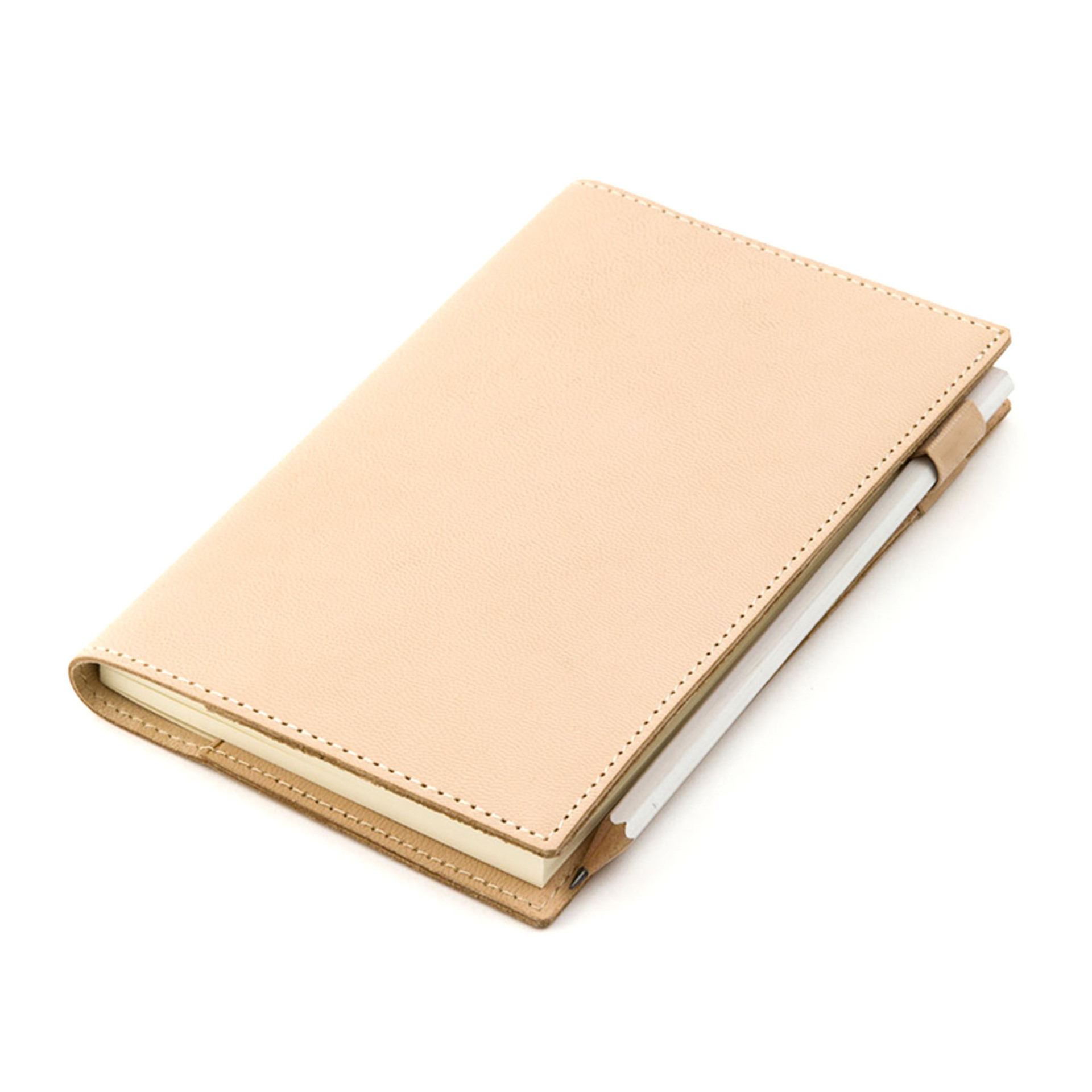 Hand Made Genuine Leather Cover Suit For Standard Fitted A5 A6 Paper Book Beige Pink