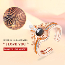 Crown double-layer rose gold silver ring 100 languages I love you projection romantic memory Valentines Day gift