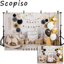 Scopiso 1st Birthday Backdrops Balloon Paper Flowers Wood Floor Baby Shower Portrait for Photo Studio Photography Backgrounds(China)