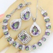 цена на 925 Silver Jewelry Sets For Women Multicolor Rainbow Zircon Bracelet Earrings Rings Necklace Pendant Wedding Gift Box