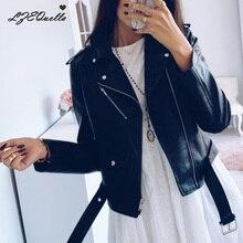 Pu кожаное пальто для женщин модные яркие цвета черные мотоциклетные Пальто короткие искусственная кожа байкерские мягкие наряды для женщин
