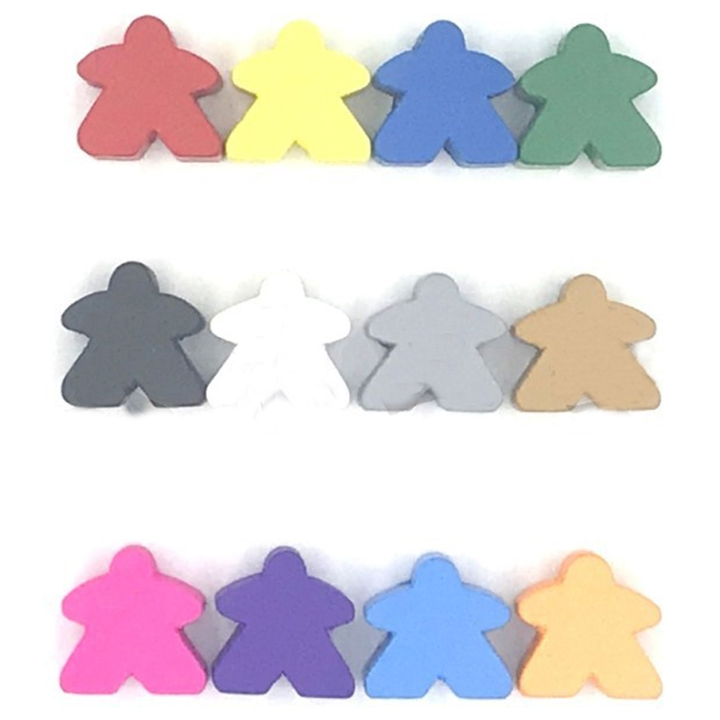 12PCS Wooden Pawn/ Chess Standard Size 16mm For Meeple Carcassonne Board Game Accessories 16mm*16mm