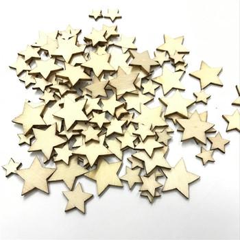100 sztuk paczka Star Wood ozdoby do rękodzieła MDF drewniane wycięcie płaskie ozdoby do dekorowania albumów do Cardmaking sztuka DIY dekoracje ślubne tanie i dobre opinie Niedokończone Drewna Wedding Party Christmas
