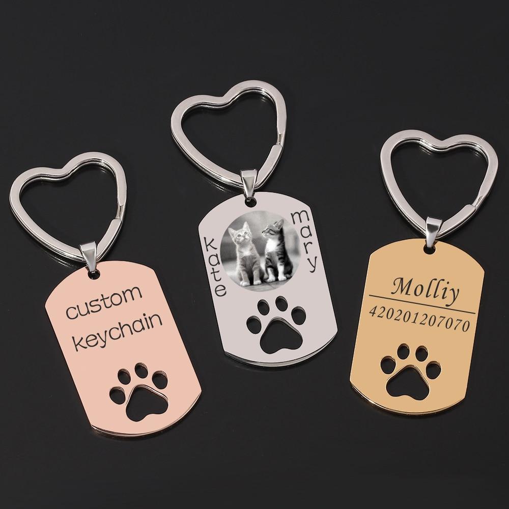 Personalisierte DIY Hund Tag Foto Schlüsselbund Edelstahl Gravierte Foto Name Keychain Für Pet Andenken schlüssel Chaveiro