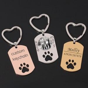 Personalized Custom DIY Dog Tag Photo Keychain Stainless Steel Engraved Photograph Name Keychain For Pet Keepsake key Chaveiro