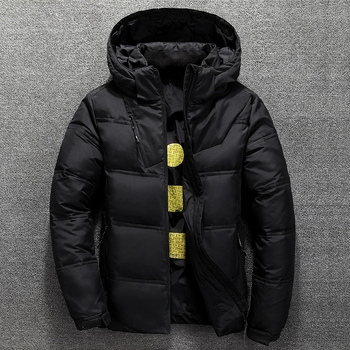 Winter Warm Men Jacket Coat Casual Autumn Stand Collar Puffer Thick Hat White Duck Parka Male Men's Winter Down Jacket with Hood image