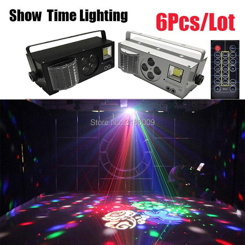 6Pcs/Lot Full Function LED Laser Pattern Strobe 4 In 1 Effect Dj Light Disco 4 Eyes Image Light Good Use For Entertainment Party