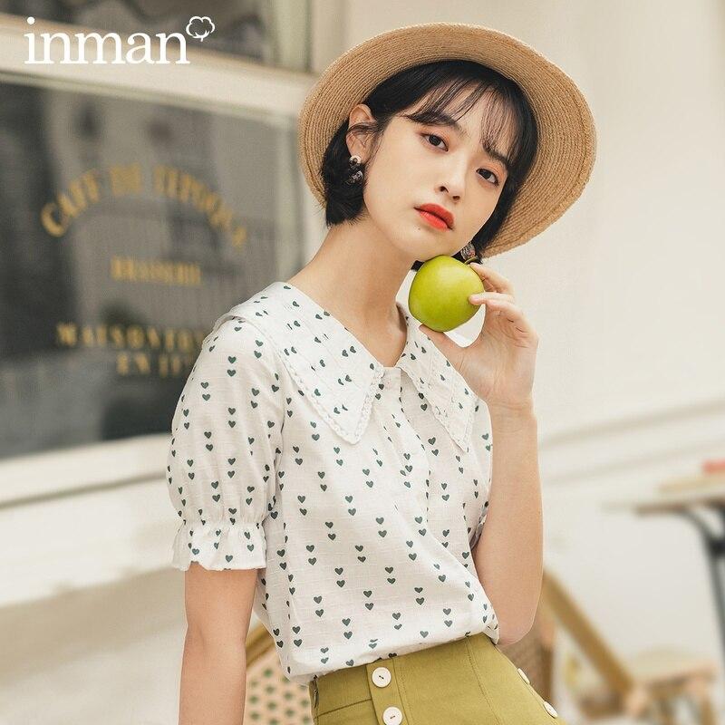 INMAN 2020 г.; Новое поступление; летняя Свободная блузка с короткими рукавами и ретро-кукла воротником и принтом в виде сердечек