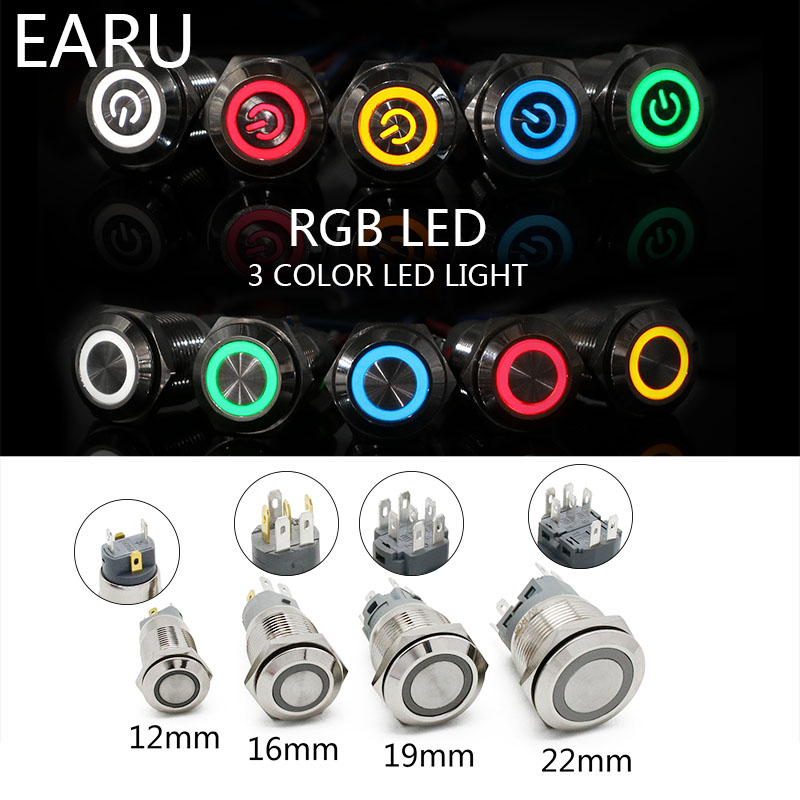12mm 16mm 19mm 22mm 2 3 Color RGB LED Light Switch Latching Fixation Waterproof Metal Push Button Switch Power 3-380V Red Blue