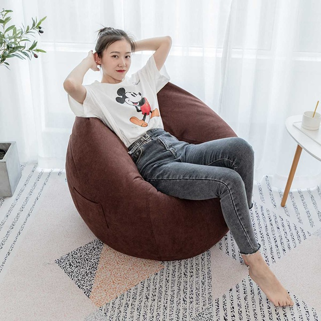 Nesloth Lazy BeanBag Sofas Cover+Inner Liner Chairs without Filler  Lounger Seat Bean Bag Pouf Puff Couch Tatami Living Room 3