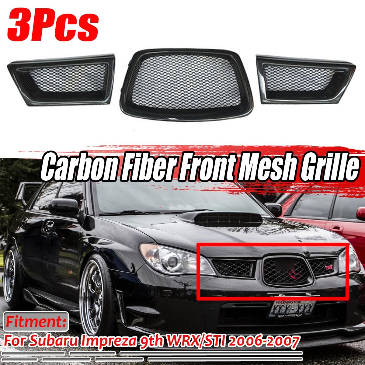 Black 3Pcs Carbon Fiber Car Front Lower Mesh Grill Grille for subaru Impreza WRX STi 9th 2006 2007 28012 Racing Grills     - title=