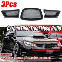 Black 3Pcs Carbon Fiber Car Front Lower Mesh Grill Grille for subaru Impreza WRX STi 9th 2006 2007 28012