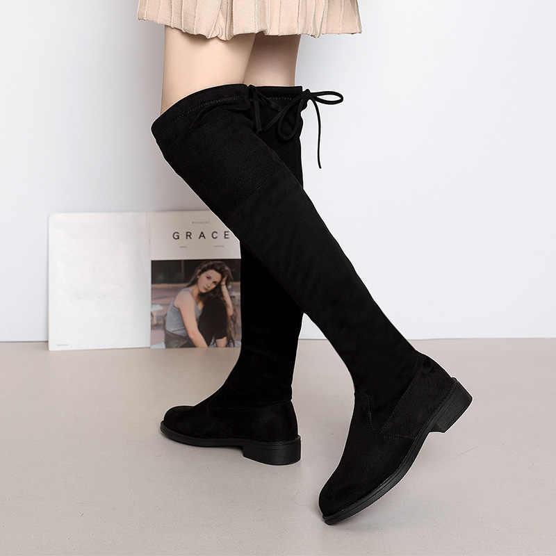 Nouveau 2019 talons femmes chaussures sur le genou bottes d'hiver femme daim botte dames cuissardes dames neige chaussure grande taille