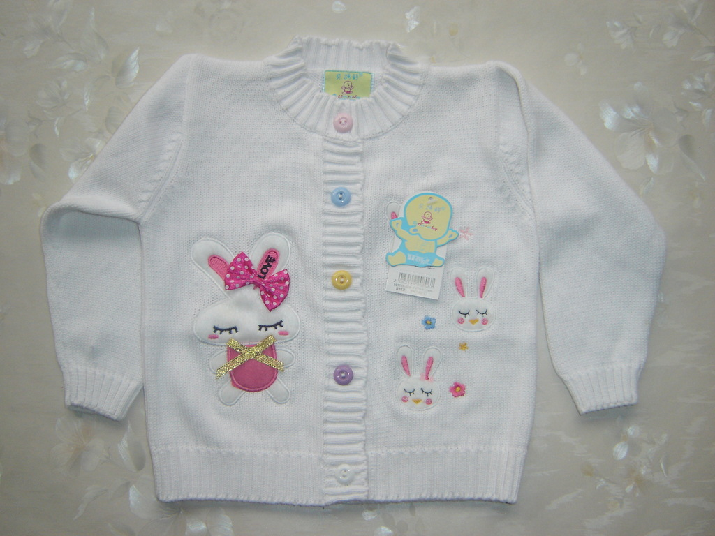 Zhendian Treasure New Style Brand Betopic Childrenswear Pure Cotton Embroidered Bunny Bow Infant CHILDREN'S Sweater