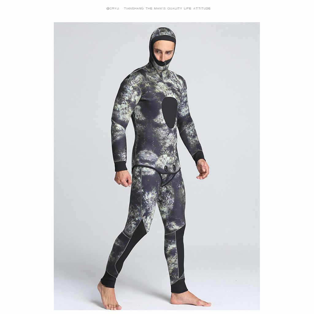 Yüzmek sörf üst döküntü muhafızları erkekler spor 2019 erkekler 5mm neopren termal Wetsuits tüplü dalış 2 parça mayo ceketler pantolon