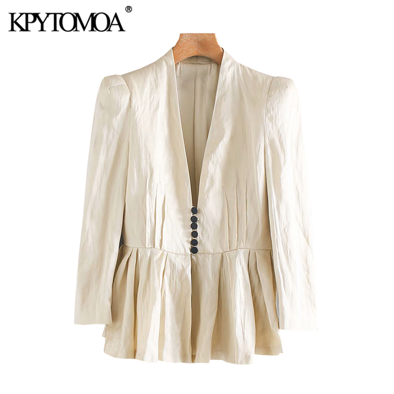 KPYTOMOA Women 2020 Fashion Covered Button Ruffled Blazer Coat Vintage V Neck Long Sleeve Pleated Female Outerwear Chic Tops