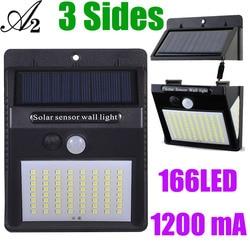 A2 166 led night lighting pir sensor de movimento solar interior lâmpada led separável para casa jardim rua quintal caminho