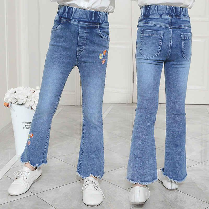 Pantalones Vaqueros A La Moda Para Adolescentes Y Ninas Jeans Con Bordado Con Flores Corte Rasgado Ajustado Largo Pantalones Vaqueros Aliexpress