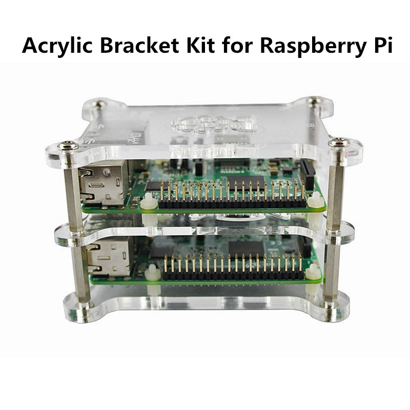 Acrylic Bracket Kit for <font><b>Raspberry</b></font> <font><b>Pi3</b></font> <font><b>Raspberry</b></font> Pi 4 Model <font><b>B</b></font> Acrylic Protection Case Clear Box Cover DIY Maker Training Assembly image