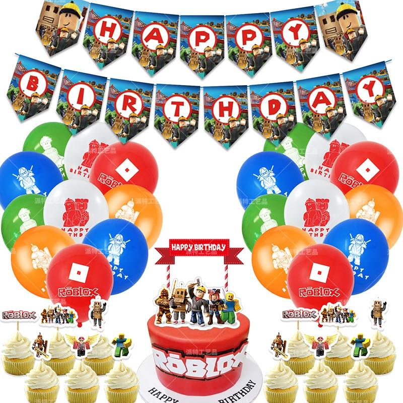 46pcs Roblo Game Balloons Banner Cake Topper Boy Girl Birthday