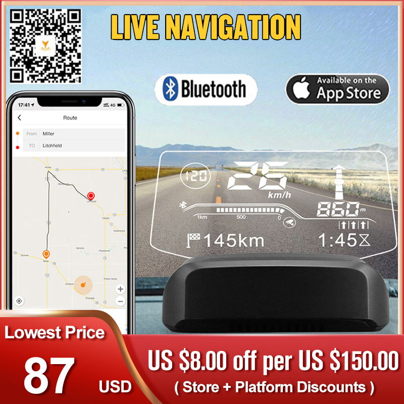 Head Up Display On-board Computer OBD2 With Bluetooth Live Navigation GPS HUD Speed Fuel Consumption Car Speedometer Projection