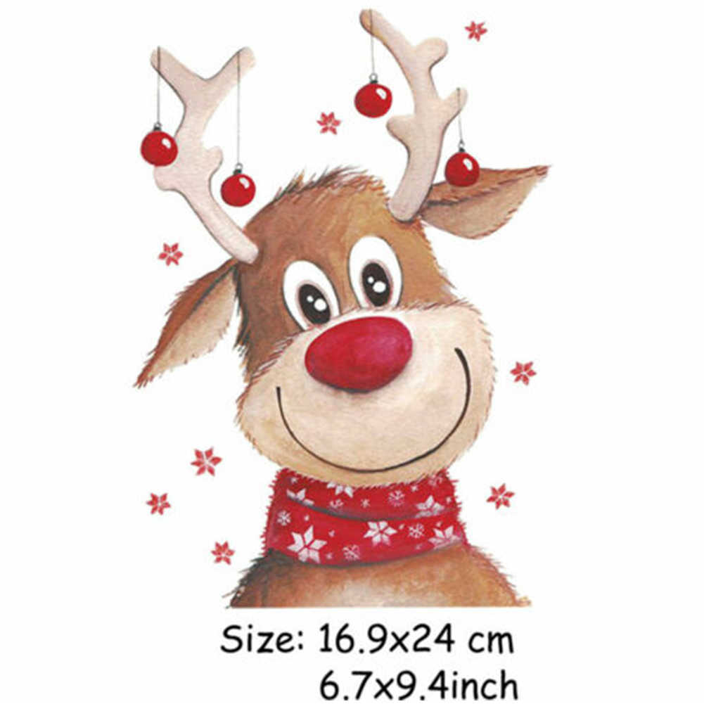 น่ารัก ELK Patch สำหรับเสื้อผ้าคริสต์มาสกวาง Iron-ON โอนสติกเกอร์สำหรับเด็ก DIY แพทช์เสื้อยืดกระเป๋า HEAT Transfer ไวนิล