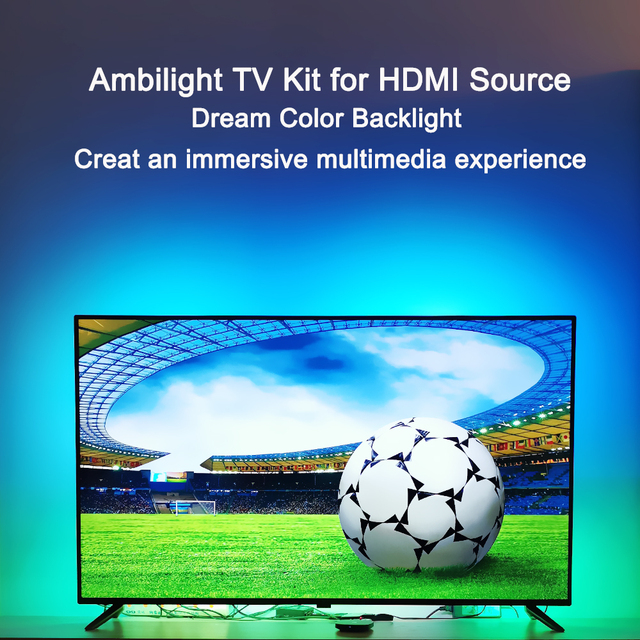 """Ambilight LED TV Backlights kit LED TV Ambilight effect for TV HDMI sources Dynamic ambient light RGB color for 40"""" 80"""" TV"""