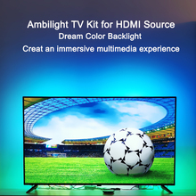 "Ambilight led tv backlights kit led tv efeito de ambilight para tv hdmi fontes de luz ambiente dinâmico rgb cor para 40 "" 80"" tv"