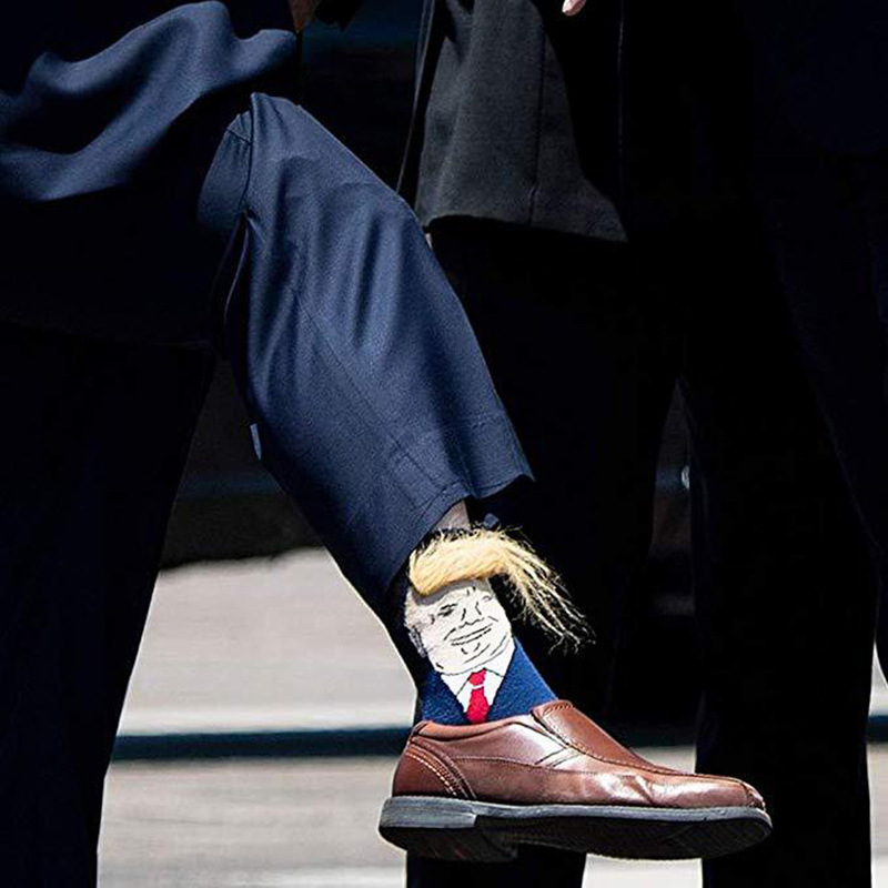 Funny Socks Men President Donald Trump Socks Yellow Wig Hair Cute Crew Socks Hip Hop Skateboard Cotton Happy Socks Sokken Meias