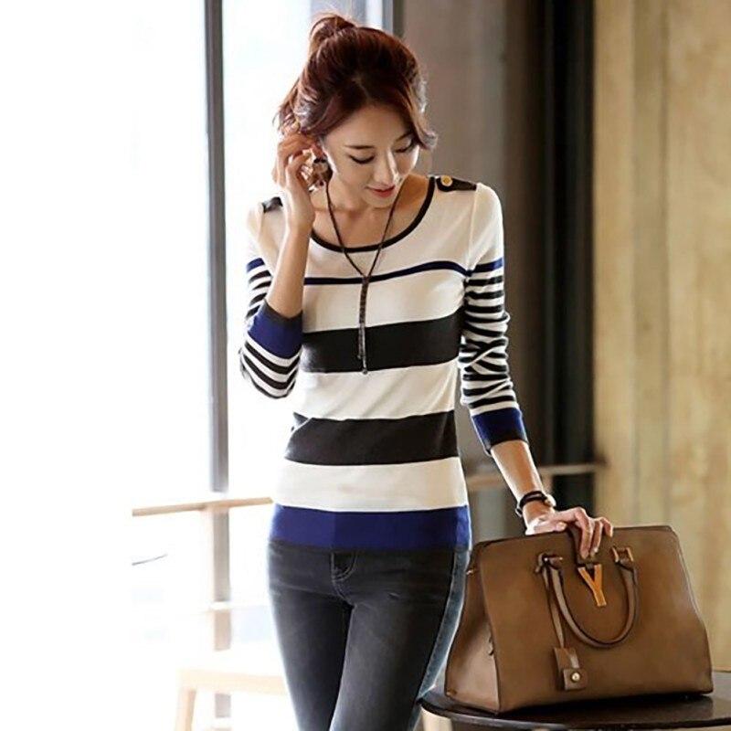 Stripe Print Autumn Women Bottoming T-Shirt O-Neck Long Sleeve T Shirt Slim Warm Striped Basic Tee Femal