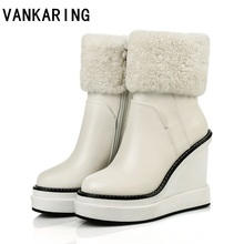 2020 new autumn winter ankle boots women snow boots natural wool genuine leather wedge platform high heel zipper warm boots 100% natural fur women boots winter warm shoes genuine sheepskin snow boots warm wool women ankle boots