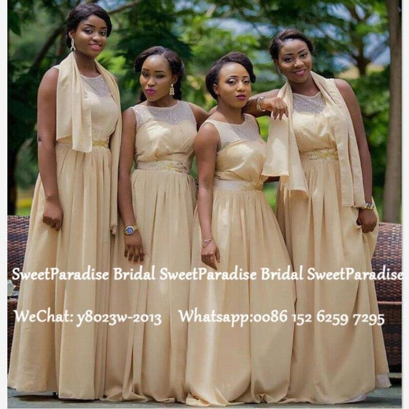 Champagne Chiffon Bridesmaid Dresses 2020 Sheer Neck A Line Sleeveless Women Long Wedding Guest Dress Vestido De Festa