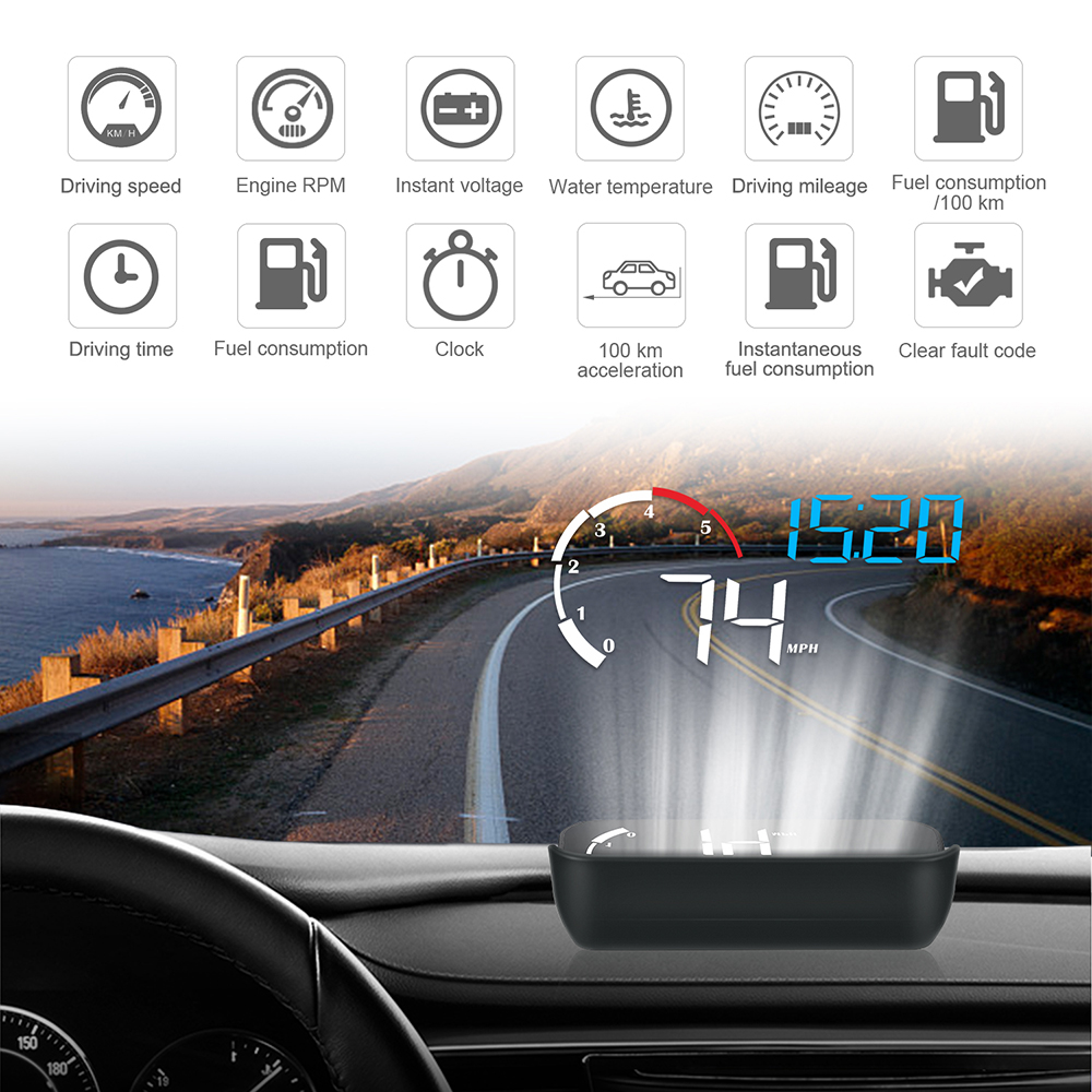 M10 A100 Windshield Projector OBD2 Overspeed Warning Intelligent Alarm System Car-styling Driving Safety Car HUD Display