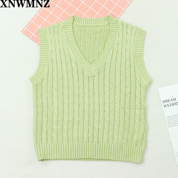 2020 NEW Spring Autumn Sweater Vest Women V-Neck Knitted Vest Female casual tank tops Sleeveless Twist knit pullovers za XNWMNZ xnwmnz za classic cozy pompon twist knitted cardigan women buttons v neck casual female outwear fashion autumn ladies sweater