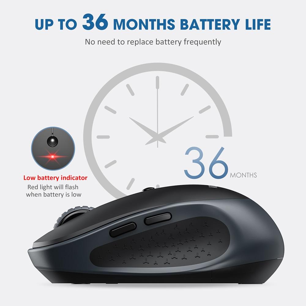 VicTsing PC254 Wireless Mouse 2400DPI Adjustable Portable Bluetooth Mouse 2.4Ghz USB Optical Cordless Mice For PC Tablet Laptop PK Logitech Ajazz ACGAM Razer (4)