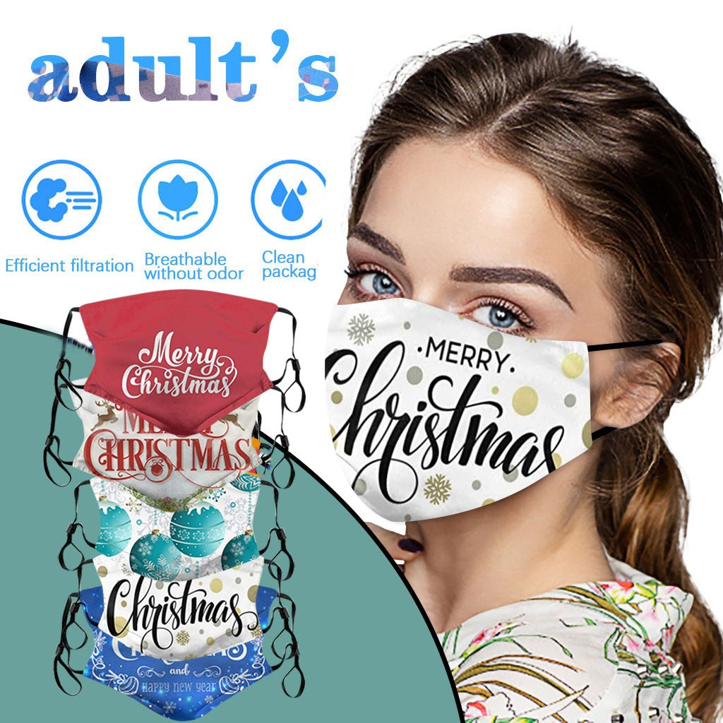 Christmas adult men women face mask washable protective dust Foggy Haze PM2.5 mask outdoor activities use washable face mask