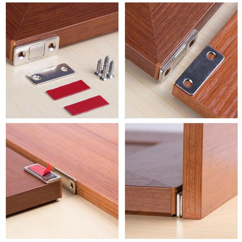 Ultra-thin Invisible Magnetic Door Stoppers,Punch-free Magnetic Door Closer 4PCS Drawer Magnetic Catch for Sliding Door Closure Kitchen Cabinet Cupboard Closet Closer