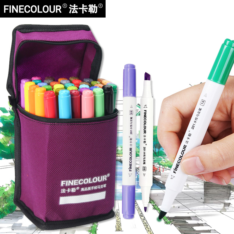 FINECOLOUR EF201 12/24/36 Colors Art Markers Brush Pen Set Dual Headed Sketch Colored Water-based Markers For Animation Manga image