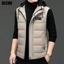 New Brand Casual Fashion Windbreaker Sleeveless 90% Mens Duck Down Vest Jacket With Hood Puffer Waistcoat Winter Mens Clothes