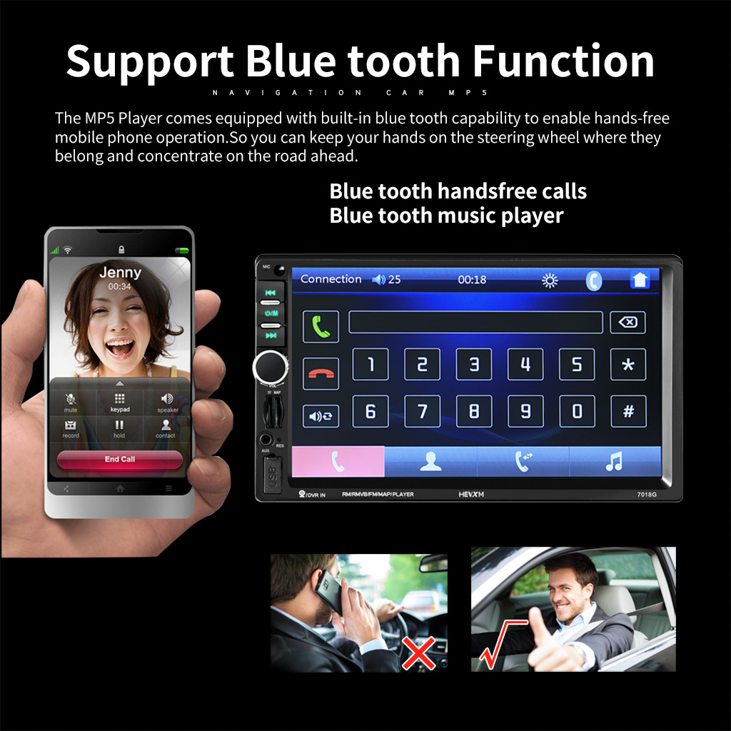 <font><b>7018G</b></font> 7'' HD Touch Screen Car <font><b>GPS</b></font> Navigation MP5 Audio FM Radio Player Black image