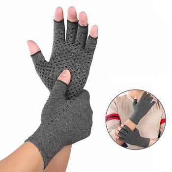 High Elastic Half Finger Cycling Gloves Arthritis Pressure Health Gloves Ash Anti-edema Rehabilitation Sports Riding Gloves image