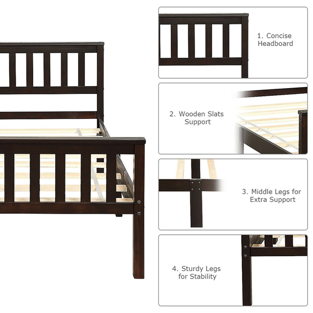 Twin Size Pine Wood Bed Frame  6