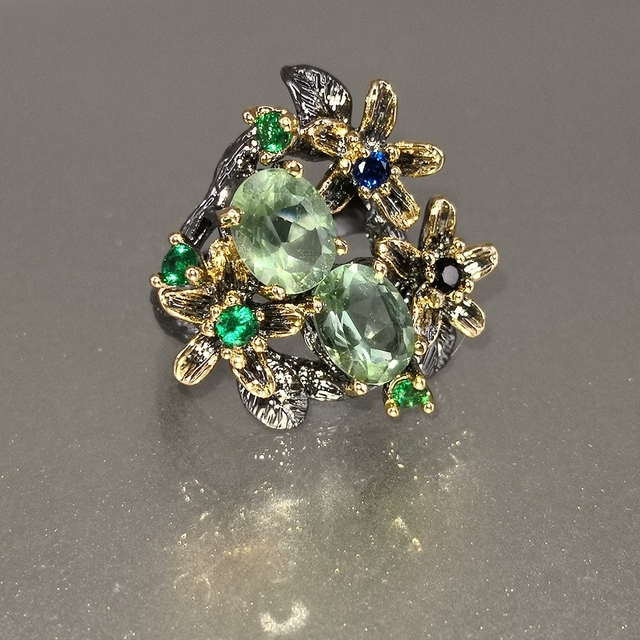 DreamCarnival Hot Selling Stunning CZ Ring for Women Engagement Party Vintage Flower Eye Catching Olivine Zircon Jewelry WA11688 2