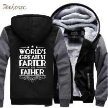 Worlds Greatest Father Letter Print Hoodies Sweatshirts Men 2018 New Winter Warm Fleece Zipper Hooded Plus Size Hoodie 5XL Coat