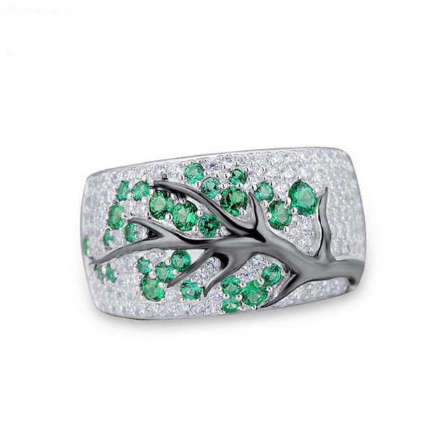 Vintage Plum Tree Flower Blossom Paved Plant Pattern Rings for Women Men Silver 925 CZ Ring 2019 Bohemia Banquet Fine Jewelry