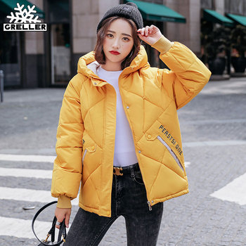 GRELLER 2020 New Autumn Winter Jacket Women Parkas Hooded Thick Down Cotton Padded Female Short Coat Outwear - discount item  40% OFF Parkas