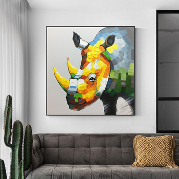 Pure hand-painted Oil Paintings Rhino Animal children's Room Bedroom Modern Minimalist Decorative Painting Murals hand-Nordic