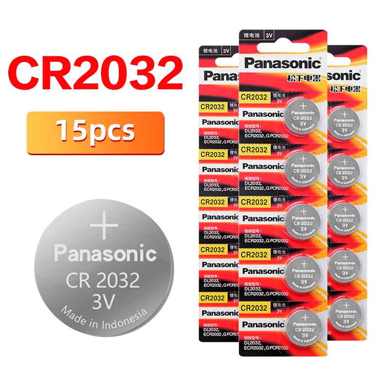 Original <font><b>PANASONIC</b></font> 15pcs/lot cr2032 Brand New Button Cell Batteries 3V Coin Lithium Toys, Calculators cr <font><b>2032</b></font> image