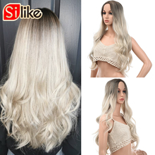 Silike Long Wavy Ombre Blonde Wigs Platinum Blonde Synthetic Wigs